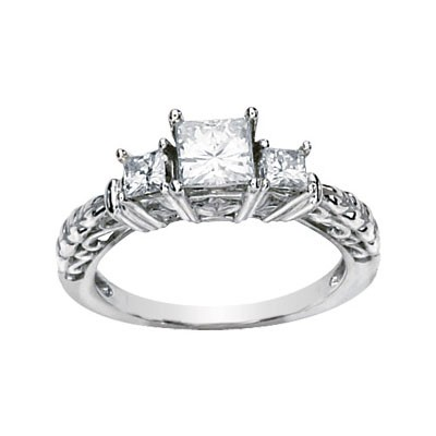 MOISSANITE 3 STONE ANNIVERSARY BAND 1.16 CTTW 14K White Gold