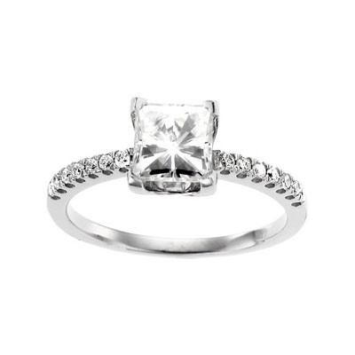 MOISSANITE AND DIAMOND ENGAGEMENT RING 1.50 Carat Total Weight in 14K White Gold