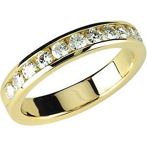 FOREVER ONE GHI MOISSANITE ANNIVERSARY BAND SIZE 07.00/03.00 MM 14K Yellow Gold