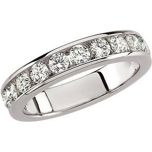 FOREVER ONE GHI MOISSANITE ANNIVERSARY BAND SIZE 06.00/03.00 MM 14K White Gold