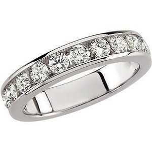 FOREVER ONE GHI MOISSANITE ANNIVERSARY BAND 1 CARAT  SIZE 08.00/03.00 MM 14K White Gold