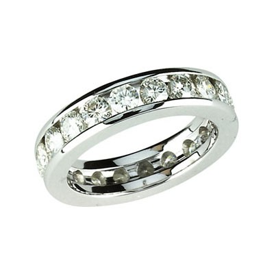 FOREVER ONE DEF MOISSANITE ANNIVERSARY ETERNITY BAND 2.10 CARATS SIZE 07.00/03.00 MM 14K White Gold