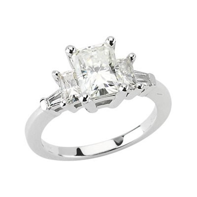 MOISSANITE AND DIAMOND RADIANT CUT 8 x 6 ENGAGEMENT RING 2.66 CT TW/ 1/6 CTTW 14K White Gold