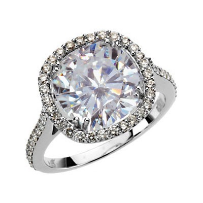 Forever Brilliant Antique Designer Cushion Moissanite & Diamond Engagement Ring 5.60 Carat T.W. 14K WG
