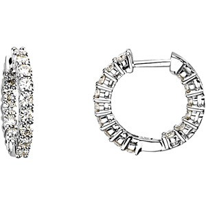 Forever One 9/10 Carat Certified Moissanite Hoop Earrings Luxuriously set in Classic 4 Prong 14K WG Mountings