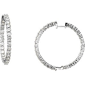 Forever One 5 3/4 Carat Certified Moissanite Hoop Earrings Luxuriously set in Classic 4 Prong 14K WG Mountings