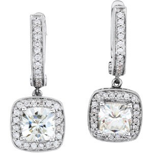 FOREVER ONE MOISSANITE & DIAMOND EARRRING 14k WG