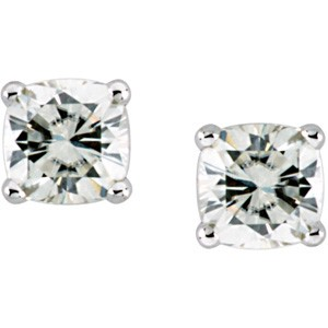 Forever One Moissanite 5.00 Carat T.W. 8.00 mm Antique Square Cushion Earrings Luxuriously set in Classic 4 Prong 14K WG Mountings