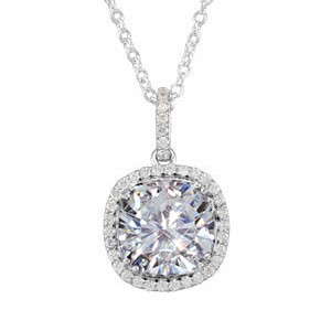 "Forever One 10 mm Antique Designer Cushion Moissanite & Diamond Halo Necklace 5.30 Carat T.W. 14K WG 18"" Solid Cable Chain"