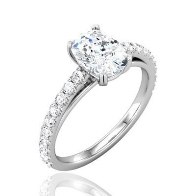 Forever One GHI Antique Designer Cushion Moissanite & Diamond Engagement Ring Setting 1.00-2.07 Carat T.W. 14K WG