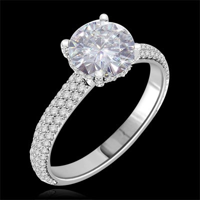 Forever One GHI Riviera Vintage Round Cut Moissanite & Diamond Engagement Ring 3.50 Carat T.W. Handcrafted in 14K White Gold