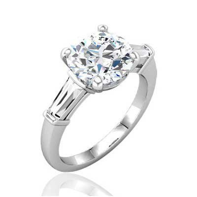 MOISSANITE AND TAPERED BAGUETTE DIAMOND ENGAGEMENT RING 4.35 CTTW 14K White Gold