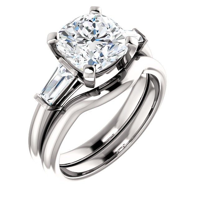 FOREVER ONE GHI CUSHION MOISSANITE AND TAPERED BAGUETTE DIAMOND ENGAGEMENT RING 3.00 CTTW 14K White Gold
