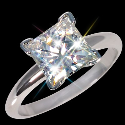 6.50 mm (1.70 carat) Forever One GHI Certified Moissanite Princess Cut Engagement Solitaire Ring 14K WG