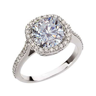 Forever Brilliant Antique Designer Halo Cushion Moissanite & Diamond Engagement Ring 3.00 Carat T.W. 14K WG
