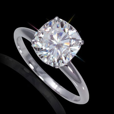 7.50 mm (2.00 carat) Forever One GHI Certified Cushion Cut Moissanite Engagement Solitaire Ring in 14K White Gold