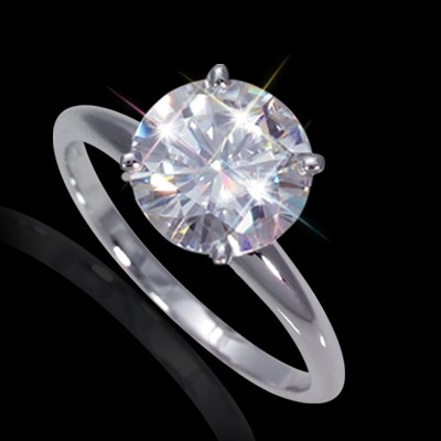 7.50 mm (1.50 carat) Certified Round Cut Forever One GHI Moissanite Engagement Solitaire Ring in 14K White Gold