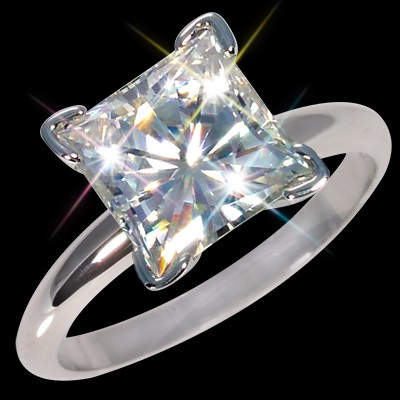 9.00 mm (4.30 carat) Forever Brilliant Certified Moissanite Princess Cut Engagement Solitaire Ring 14K WG