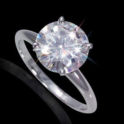 8.50 mm (2.20 carat) Certified Round Cut Forever One GHI Moissanite Engagement Solitaire Ring in 14K White Gold