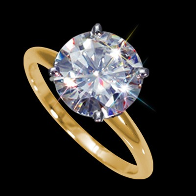 9.00 mm (3.00 carat) Certified Round Cut Forever One GHI Moissanite Engagement Solitaire Ring in 14K Yellow Gold