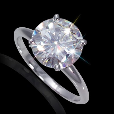 9.50 mm (3.10 carat) Forever One DEF Certified Round Cut Moissanite Engagement Solitaire Ring in 14K White Gold 4 Prong Setting