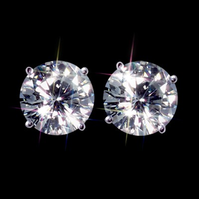Forever One GHI 1.50 Carat  t.w. 6.00 mm Certified Round Moissanite Stud Earrings Luxuriously set in Classic 4 Prong studs in 14K WG Mountings