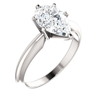 FOREVER ONE DEF MOISSANITE PEAR SOLITAIRE ENGAGEMENT RING 10.00X07.00 MM = 2 CT 14K White Gold