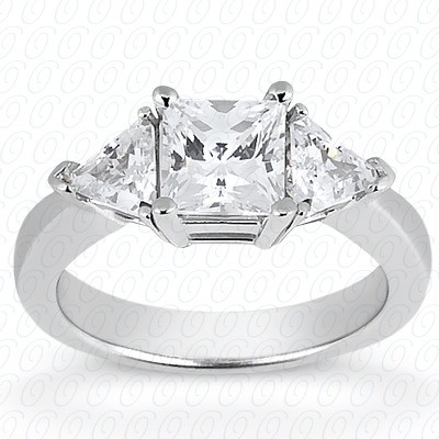 MOISSANITE THREE STONE RING 3 1/4 CTTW Princess with Trillions in 14K White Gold
