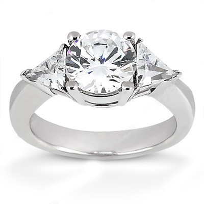 MOISSANITE THREE STONE RING 3 1/4 CTTW Round with Trillions in 14K White Gold