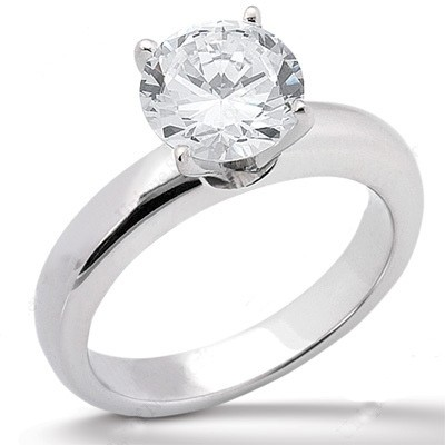 Heavy Solitaire Four Prong Mounting 14K White Gold 5 mm (1/2) to 10 mm (3.60) Carats