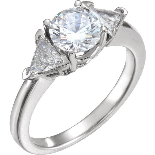 FOREVER ONE GHI MOISSANITE TRILLION ENGAGEMENT RING 08.00 MM=2 3/4 CTTW 14K White Gold