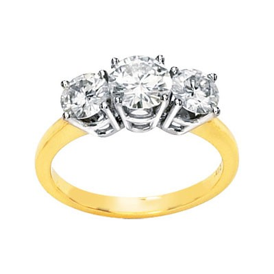 FOREVER ONE GHI MOISSANITE THREE STONE ANNIVERSARY BAND 2 1/2 CT TW 14K Yellow Gold Two Tone