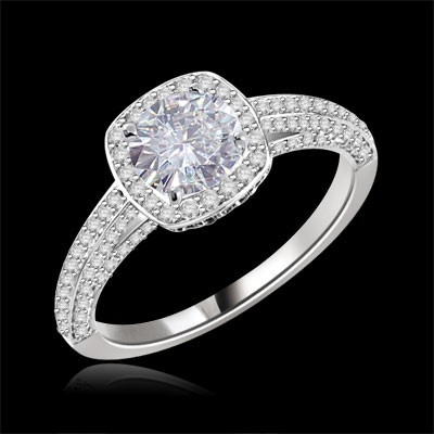 Forever One GHI Riviera Vintage Round Cut Moissanite & Diamond Engagement Ring 2.25 Carat T.W. Handcrafted in 14K White Gold