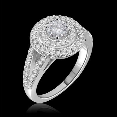Riviera Vintage Round Cut Moissanite & Diamond Engagement Ring 1.25 Carat T.W. Handcrafted in 14K White Gold