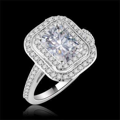 Riviera Vintage Emerald Cut Moissanite & Diamond Engagement Ring 1.75 Carat T.W. Handcrafted in 14K White Gold