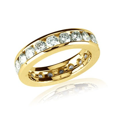 FOREVER ONE DEF MOISSANITE ANNIVERSARY ETERNITY BAND 2.10 CARAT SIZE 07.00/03.00 MM 14K Yellow Gold