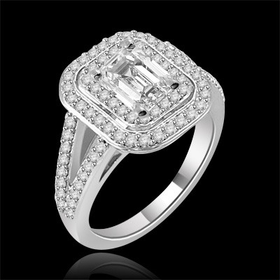 Riviera Vintage Emerald Radiant Cut Moissanite & Diamond Engagement Ring 1.90 Carat T.W. Handcrafted in 14K White Gold
