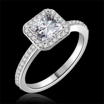 Riviera Vintage Princess Cut Moissanite & Diamond Engagement Ring 1.20 Carat T.W. Handcrafted in 14K White Gold