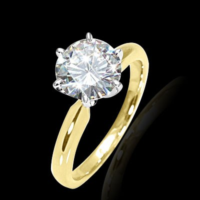 6.00 mm (3/4 carat) Forever Brilliant Certified Round Cut Moissanite Engagement Solitaire Ring in 14K Yellow Gold Six Prong Setting