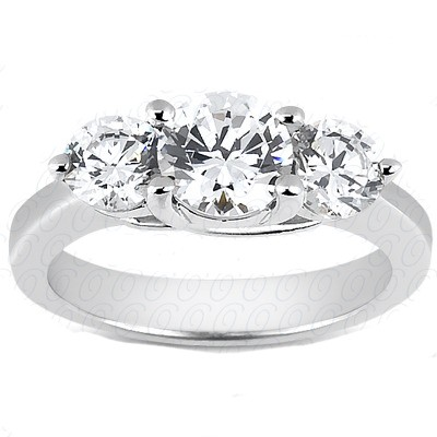 FOREVER ONE MOISSANITE THREE STONE RING 5 CTTW Round in 14K White Gold