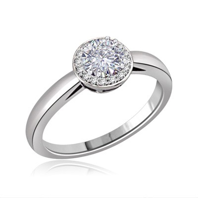 Vintage Round Cut Moissanite & Diamond Engagement Ring 2/3 Carat T.W. Handcrafted in 14K White Gold