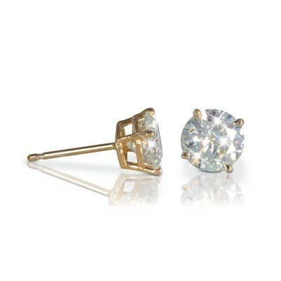 Forever One GHI 3.00 Carat t.w. 7.5 mm Certified Round Moissanite Stud Earrings Luxuriously set in Classic 4 Prong studs in 14K YG Mountings