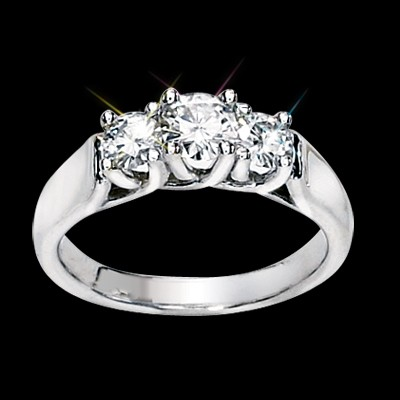 Three Stone Round Moissanite Ring 1.50 Carat T.W. 14K WG