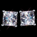 3.00 Carat t.w. 6.50 mm Certified Princess Cut Forever One GHI Moissanite Stud Earrings Luxuriously set in Classic 4 Prong studs in 14K WG Mountings