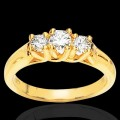 Forever One Three Stone Round Moissanite Ring 1.50 Carat T.W. 14K YG