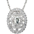 "MOISSANITE AND DIAMOND 1.80 CARAT NECKLACE WITH 18"" 14K CHAIN"