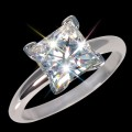 6.00 mm (1.25 carat) Forever One DEF Certified Moissanite Princess Cut Engagement Solitaire Ring 14K WG
