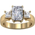 FOREVER ONE MOISSANITE RADIANT & PRINCESS THREE STONE RING 1 1/2 CTTW 14K Yellow Gold