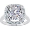 Antique Designer Cushion Forever One GHI Moissanite & Diamond Engagement Ring 5.30 Carat T.W. 14K WG