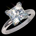 7.00 mm (2 carat) 2.10 ctw Forever One DEF Certified Moissanite Princess Cut Engagement Solitaire Ring 14K WG